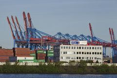 Hamburg - Container gantry cranes Royalty Free Stock Images