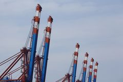 Hamburg - Container gantry cranes Stock Photography