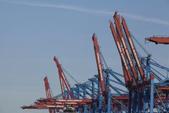 Hamburg - Container gantry cranes at terminal Royalty Free Stock Photography