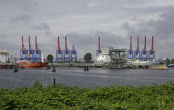 Hamburg Container Port. An important installation for the transport business of Hamburg is the city's container port that plays an important part in the Royalty Free Stock Image