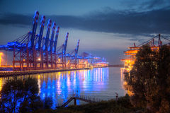 Hamburg, Container Terminal at Blue Port. Germany, Hamburg, Container Terminal at Blue Port royalty free stock photos