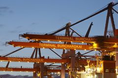 Hamburg - Container terminal Burchardkai Stock Photo