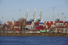 Hamburg - Container terminal Tollerort Royalty Free Stock Photography