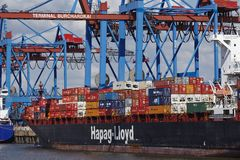 Hamburg - Container vessel at Burchardkai Royalty Free Stock Photography