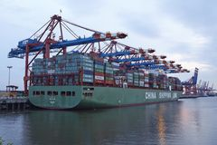 Hamburg - Container vessel at terminal Royalty Free Stock Image
