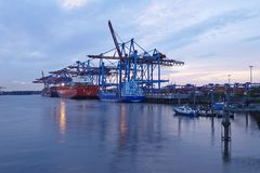 Hamburg - Container vessel at terminal Royalty Free Stock Images