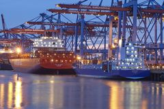 Hamburg - Container vessel at terminal Royalty Free Stock Photography