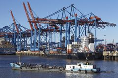 Hamburg - Container vessels at terminal Stock Image