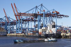 Hamburg - Container vessels at terminal Royalty Free Stock Image