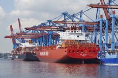 Hamburg - Container vessels at terminal Royalty Free Stock Photo