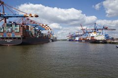 Hamburg - Container vessels at terminal. The container vessels ZIM Rotterdam and Dublin Express are loaded/unloaded at terminals Hamburg Waltershof on May 2014 Royalty Free Stock Photos