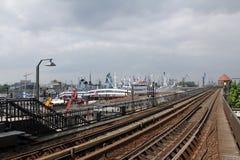 Hamburg, de ondergrondse post van Baumwall Royalty-vrije Stock Afbeeldingen