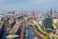 Hamburg in de zomer Stock Afbeeldingen