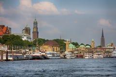 Hamburg, Deutschland - 28. Juli 2014: Ansicht der Landschaft von Hamburg-` s lizenzfreies stockfoto