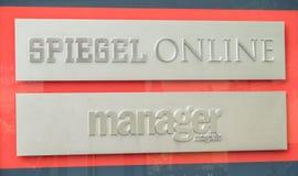 Hamburg, Deutschland - 14. Juli 2017: Der Spiegel-Zeitschriftbüro in Hamburg befindet sich nah an dem berühmten Speicherstadt Lizenzfreie Stockbilder