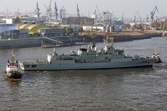 Hamburg, Duitsland - Actie in Haven Royalty-vrije Stock Afbeelding