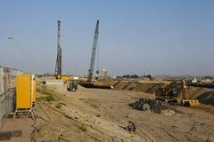 Hamburg (Duitsland) - bouwterrein HafenCity Stock Foto's