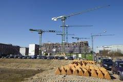 Hamburg (Duitsland) - bouwterrein van Hafencity Stock Foto's