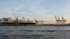 Hamburg, Duitsland De haven, de containerschepen en de kranen stock video
