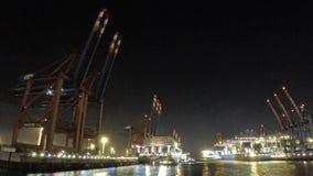 Hamburg, Duitsland - Juli 12 2017: Containerschip die bij de diepzeehaven Hamburg-Waltershof aankomen, timelapse stock videobeelden