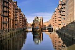 Hamburg, Duitsland, oud pakhuisdistrict Royalty-vrije Stock Afbeelding
