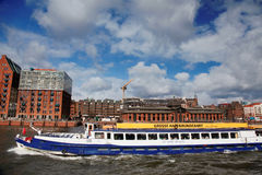 Hamburg and the Elbe. With floating boat royalty free stock photo