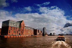 Hamburg and the Elbe. With floating boat Royalty Free Stock Images