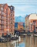 Hamburg famouse canal at Deichstrasse Stock Photo