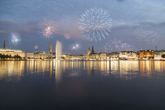 Hamburg with fireworks Royalty Free Stock Photography