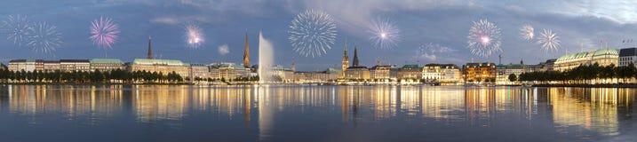 Hamburg fireworks Stock Image