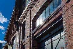 Hamburg-fishmarket Architektur-Fassadendetails und blauer Himmel Lizenzfreie Stockbilder