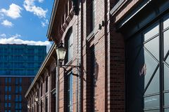 Hamburg-fishmarket Architektur-Fassadendetails und blauer Himmel Lizenzfreie Stockfotografie