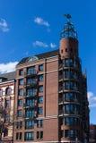 Hamburg-fishmarket Architektur-Fassadendetails und blauer Himmel Lizenzfreies Stockfoto