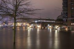 Hamburg Fishmarket Flooded during Xaver Stock Photography