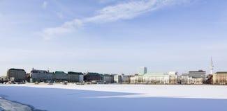 Hamburg, frozen Binnenalster lake Stock Photos