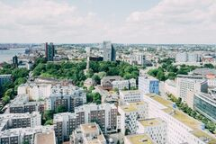 Hamburg, Germany, from above Royalty Free Stock Images
