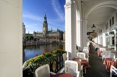 Hamburg, Germany, alster arcades and city hall Royalty Free Stock Images
