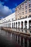 HAMBURG, GERMANY - APRIL 3 : Street view of Downtown Hamburg on Royalty Free Stock Photo