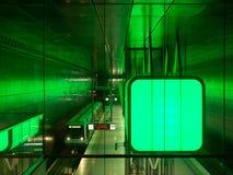Hamburg, Germany - April 12, 2018: Tube station HafenCity Universitaet with constantly changing light colours . Hamburg, Germany - April 12, 2018: Tube station royalty free stock image