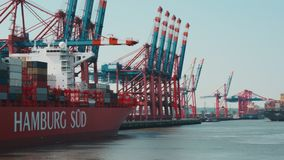 Hamburg, Germany - August 26, 2019: Germany`s biggest container seaport PORT OF HAMBURG. Hamburg is home to all branches of the maritime business - making the stock video footage