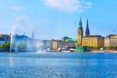 Hamburg Rathaus and Alster lake, Germany stock photography