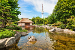 Hamburg, Germany. Beautiful view of Japanese Garden in Planten um Blomen park with famous Heinrich-Hertz-Turm radio telecommunication tower in the background stock image