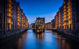Hamburg Germany Canal Night Time Romantic Sunset Stock Photos