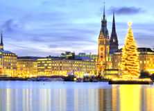 Hamburg, Germany with Christmass tree. Town Hall and church Stock Photos