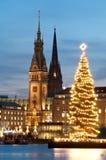 Hamburg, Germany with Christmass tree 3. Hamburg, Germany with Christmass tree, Town Hall and church Stock Photos