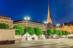 Hamburg, Germany. City Town Hall square at night Royalty Free Stock Photos