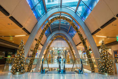 HAMBURG - GERMANY - December 30, 2014 - Christmas Tree in crowded shops of Euro Passage. HAMBURG - GERMANY - December 30, 2014 - The Europassage is crowded of stock image