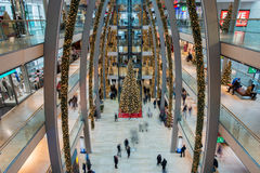 HAMBURG - GERMANY - December 30, 2014 - Christmas Tree in crowded shops of Euro Passage Stock Image