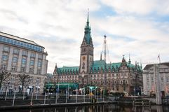 Hamburg city hall during christmas royalty free stock photography