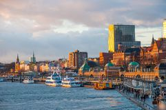 The waterfront of Hamburg royalty free stock photography